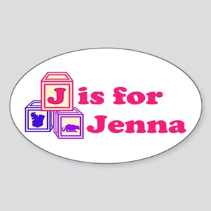 Baby Blocks Jenna Sticker (Oval)
