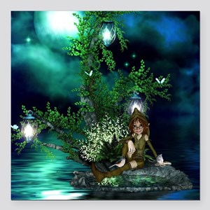 Cute fairy sitting on a island in the night Square