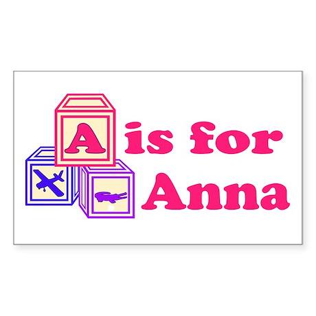Baby Blocks Anna Sticker (Rectangle)