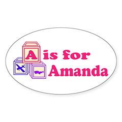 Baby Blocks Amanda Sticker (Oval 10 pk)
