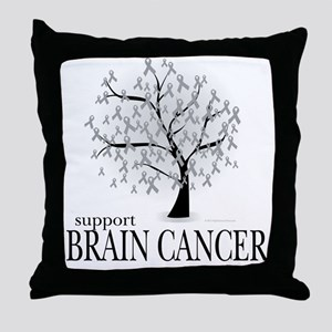 Brain Cancer Tree Throw Pillow