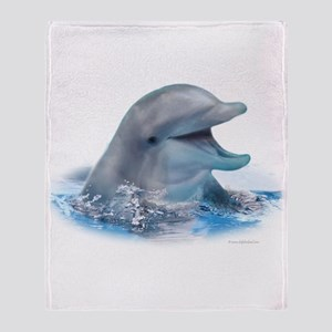 Happy Dolphin Throw Blanket