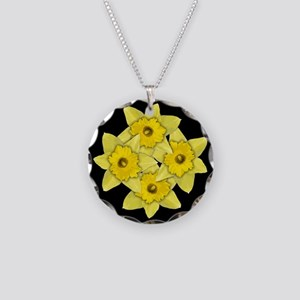 Yellow daffodils on black Necklace Circle Charm