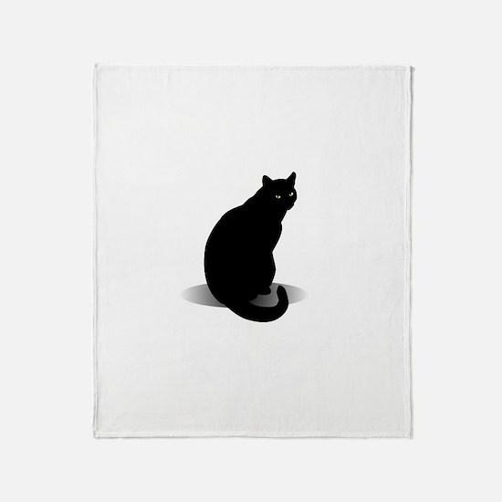 Basic Black Cat Throw Blanket