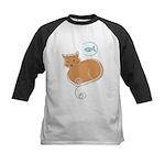 Cat and Fish Kids Baseball Jersey