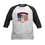 Space Shuttle and Flag Kids Baseball Jersey
