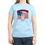 Space Shuttle and Flag Women's Light T-Shirt