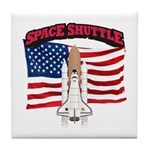 Space Shuttle and Flag Tile Coaster