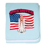 Space Shuttle and Flag baby blanket
