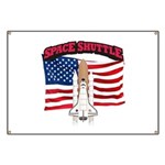 Space Shuttle and Flag Banner