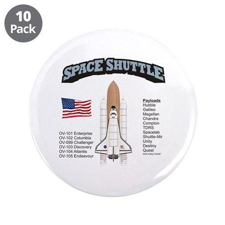 """Space Shuttle History 3.5"""" Button (10 pack)"""
