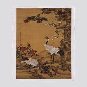 Cranes Japanese Print Throw Blanket