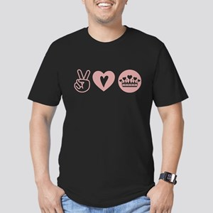 Peace Love Heart Princess Crown Men's Fitted T-Shi