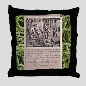 Victorian Woolen Yarn Ad Throw Pillow