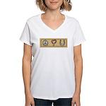 Peace Love Horses Women's V-Neck T-Shirt