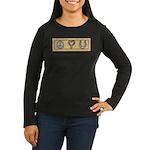 Peace Love Horses Women's Long Sleeve Dark T-Shirt