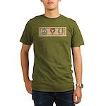 Peace Love Horses Organic Men's T-Shirt (dark)