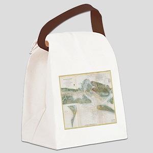 Vintage Map of Beaufort Harbor SC Canvas Lunch Bag