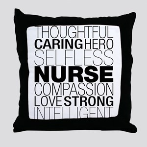 Nurse Text Throw Pillow