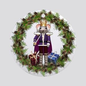 Mouse King Nutcracker Wreath Round Ornament