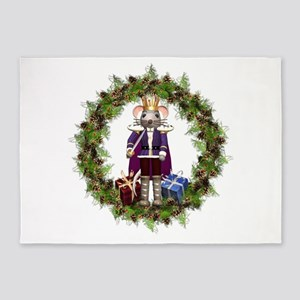 Mouse King Nutcracker Wreath 5'x7'Area Rug