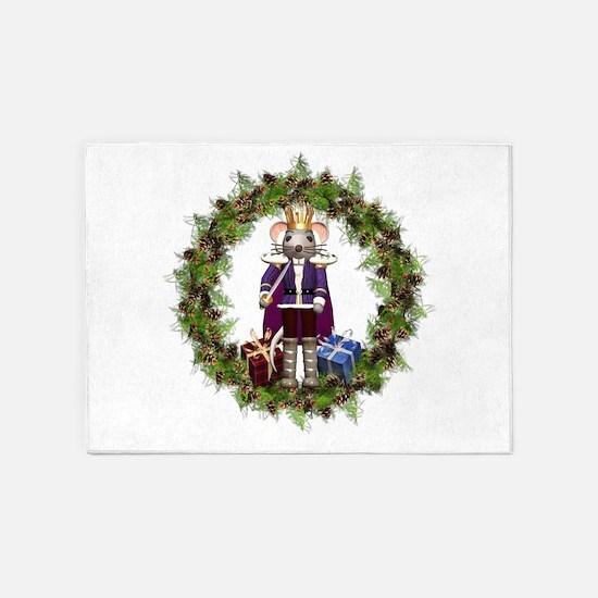 Mouse King Nutcracker Wreath 5'x7'Area Rug