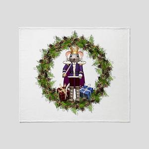 Mouse King Nutcracker Wreath Throw Blanket
