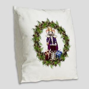 Mouse King Nutcracker Wreath Burlap Throw Pillow