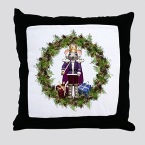 Mouse King Nutcracker Wreath Throw Pillow
