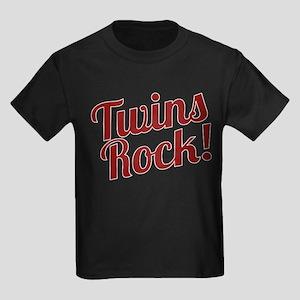 Twins Rock! Kids Dark T-Shirt