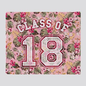 Class of 18 Floral Pink Throw Blanket
