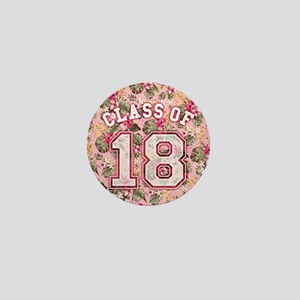 Class of 18 Floral Pink Mini Button