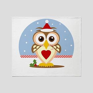 Holiday Santa Owl Throw Blanket