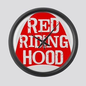 Red Hood White Text Large Wall Clock