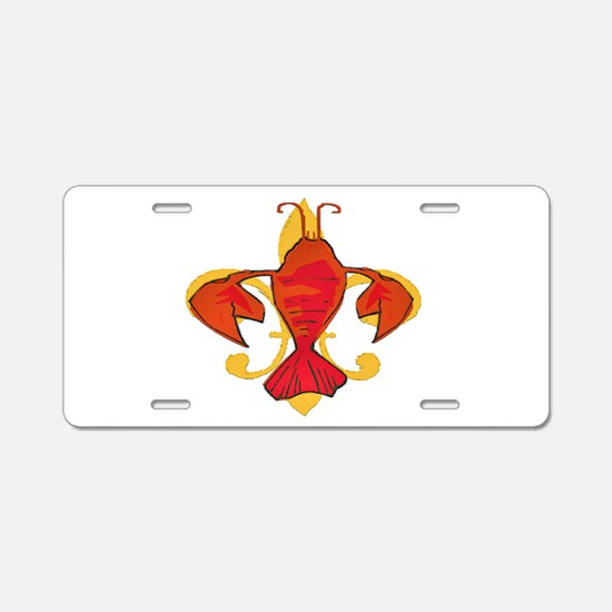 Crawfish Fleur De Craw Aluminum License Plate