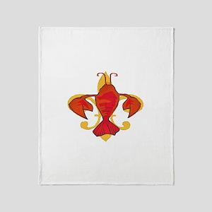 Crawfish Fleur De Craw Throw Blanket