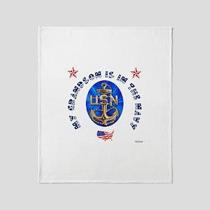 Navy Grandson Throw Blanket