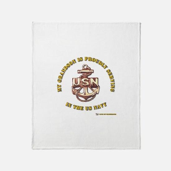 Navy Gold Grandson Throw Blanket