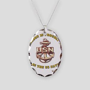 Navy Gold Grandson Necklace Oval Charm
