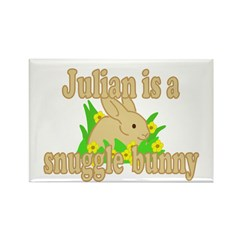 Julian is a Snuggle Bunny Rectangle Magnet (100 pa