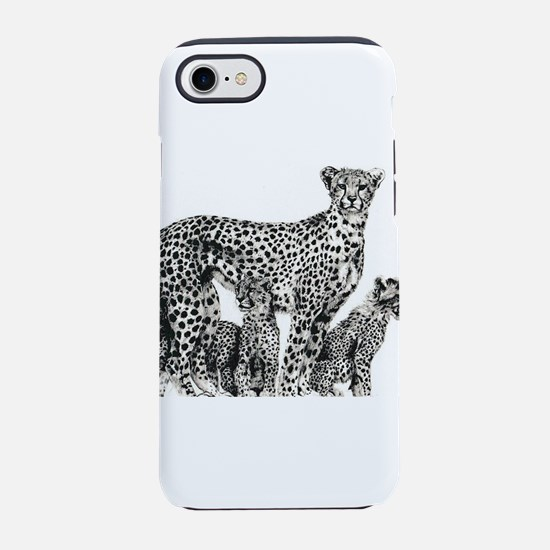 Cheetah drawing mum and cubs iPhone 7 Tough Case
