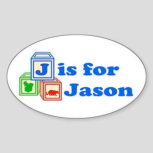 Baby Blocks Jason Sticker (Oval)