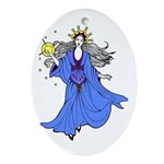 Blue Lady Oval Ornament
