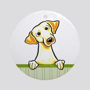 Yellow Lab Green Stripe Ornament (Round)