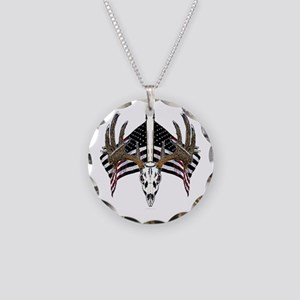 Whitetail skull on American f Necklace Circle Char