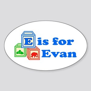 Baby Blocks Evan Sticker (Oval)