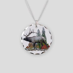 Bull Elk Necklace Circle Charm