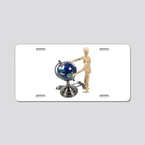 Looking Inlaid Globe Aluminum License Plate