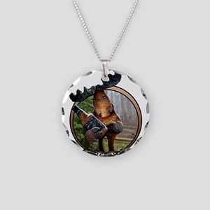 Party Moose Necklace Circle Charm