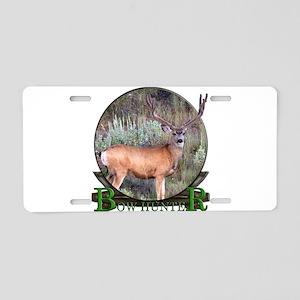 bow hunter, trophy buck Aluminum License Plate